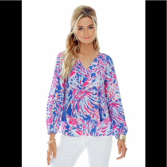 Lilly Pulitzer Tops - Lilly Pulitzer Saria Silk Tassel Tunic Top